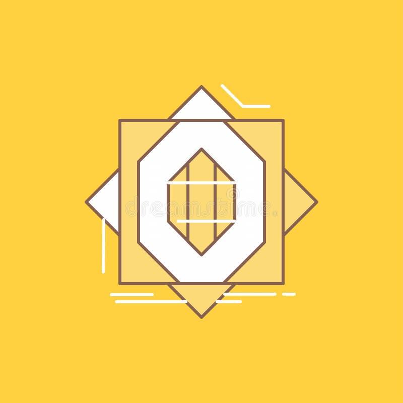 Samenvatting, kern die, vervaardiging, vorming, Vlakke Lijn de vormen vulde Pictogram Mooie Embleemknoop over gele achtergrond vo royalty-vrije illustratie