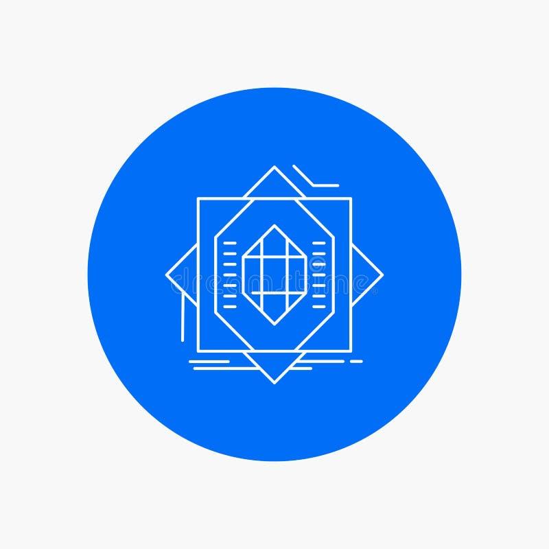 Samenvatting, kern die, vervaardiging, vorming, Wit Lijnpictogram op Cirkelachtergrond vormen Vectorpictogramillustratie vector illustratie