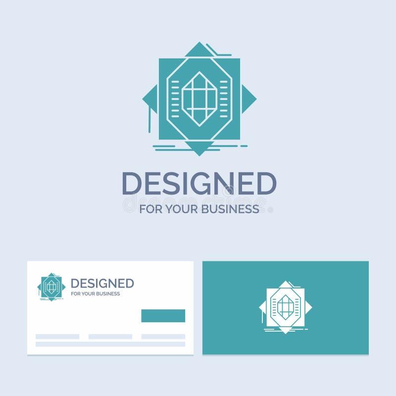 Samenvatting, kern die, vervaardiging, vorming, Zaken Logo Glyph Icon Symbol voor uw zaken vormen Turkooise Visitekaartjes met vector illustratie