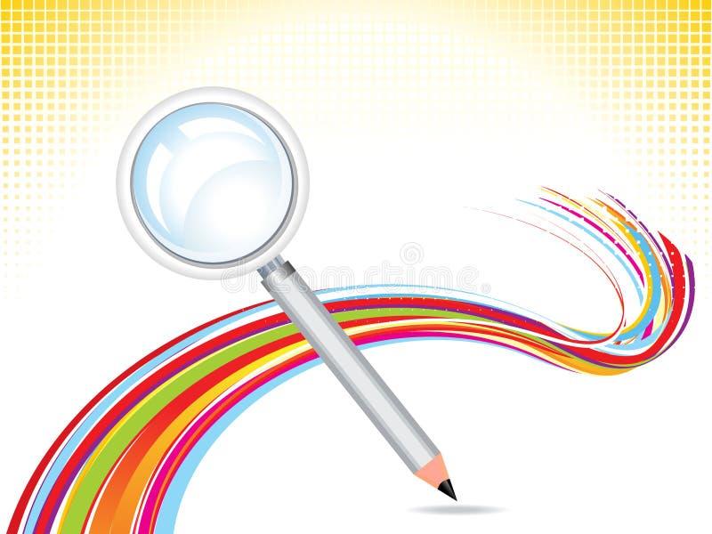 Samenvatting meer magnifier met potloodachtergrond vector illustratie