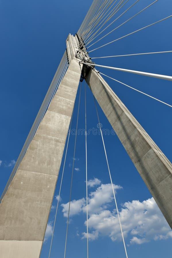 Samenvatting. Moderne hangbrug. stock foto