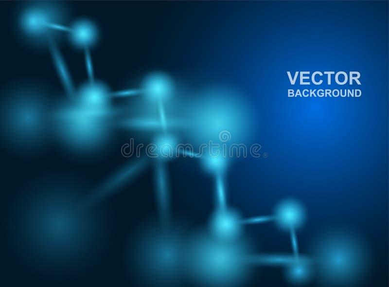 Samenvatting Moleculesontwerp atomen Medische of Wetenschapsachtergrond Moleculaire structuur met blauwe sferische deeltjes Vecto royalty-vrije stock afbeelding