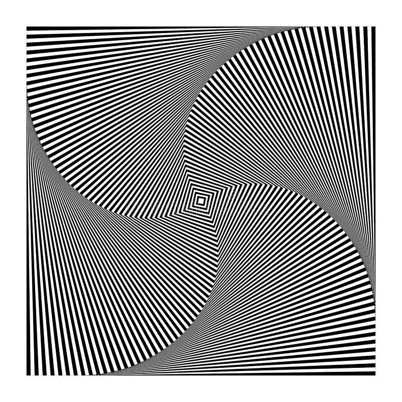 Samenvatting spiraalvormig, binnenkomend roterend vierkant Draaikolk, spiraal geomet vector illustratie