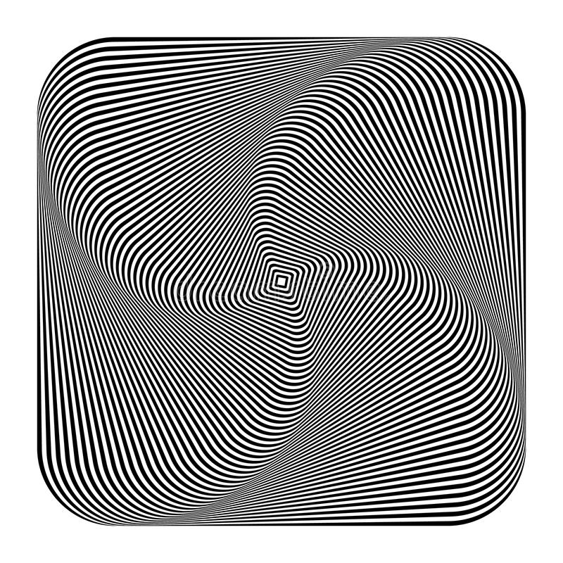 Samenvatting spiraalvormig, binnenkomend roterend vierkant Draaikolk, spiraal geomet royalty-vrije illustratie