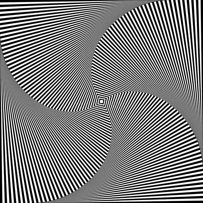 Samenvatting spiraalvormig, binnenkomend roterend vierkant Draaikolk, spiraal geomet stock illustratie