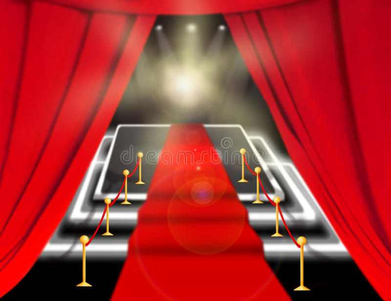 Samenvatting vaag beeld Rood tapijt met treden tussen twee kabelbarrières en flitslicht Scène die door een schijnwerper wordt ver stock illustratie