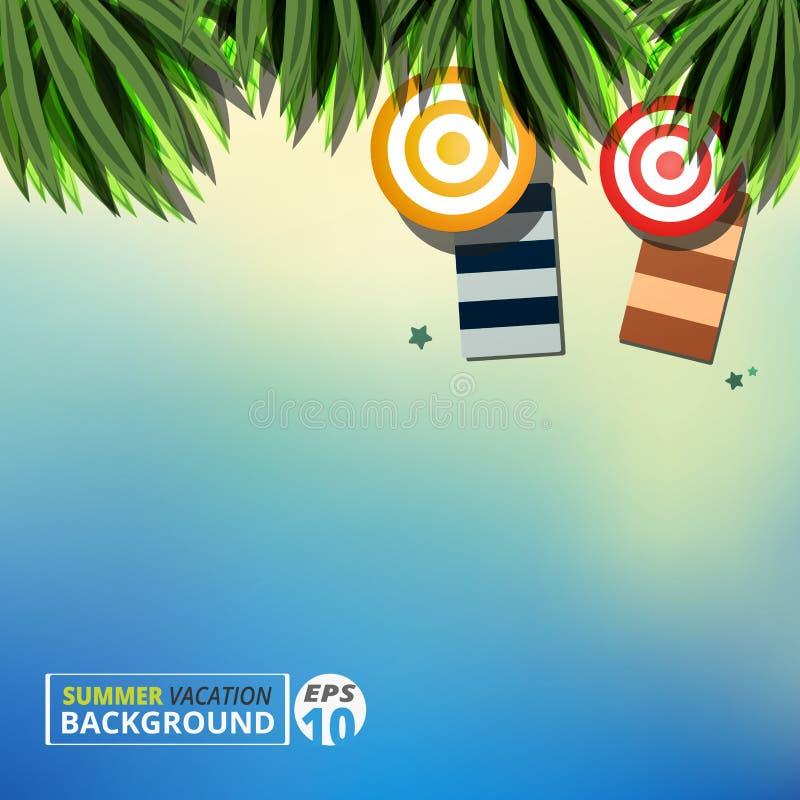 Samenvatting van de achtergrond van de de zomervakantie met bladerenaard en reeks van paraplu op zonnige dag stock illustratie
