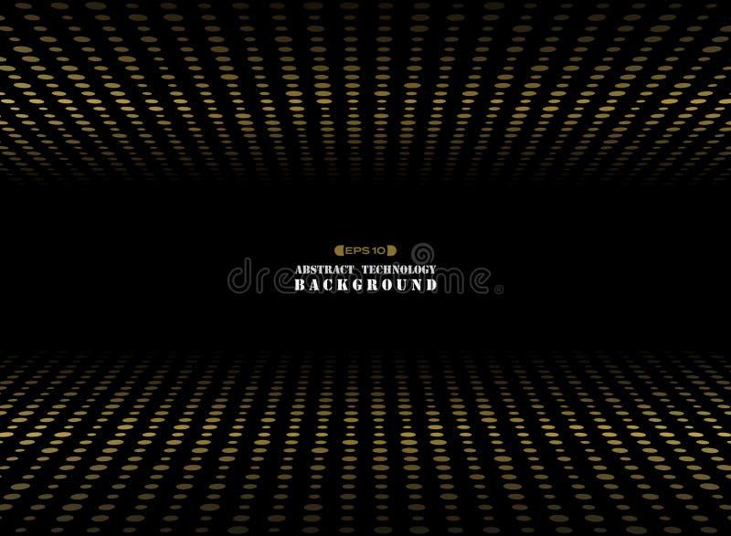 Samenvatting van donkere achtergrond op gouden de dimensie van de cirkelvorm rando royalty-vrije illustratie
