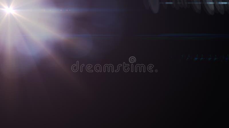 Samenvatting van het aansteken van digitale lensgloed op donkere achtergrond stock afbeelding