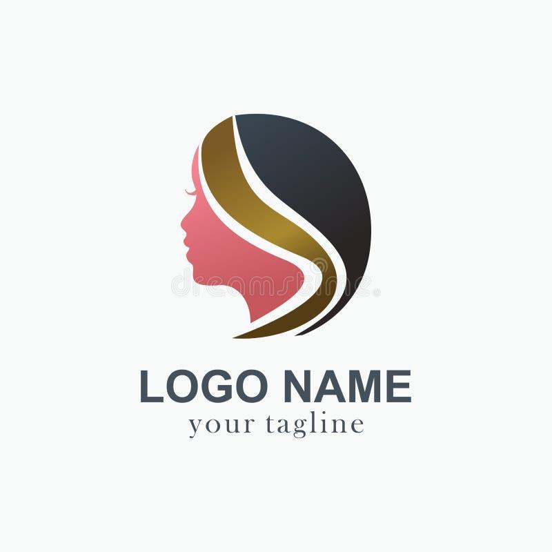 Samenvatting van het vrouwen de hoofdembleem Creatief merkpictogram voor haarbehandeling en het agentschap van de salonschoonheid stock illustratie