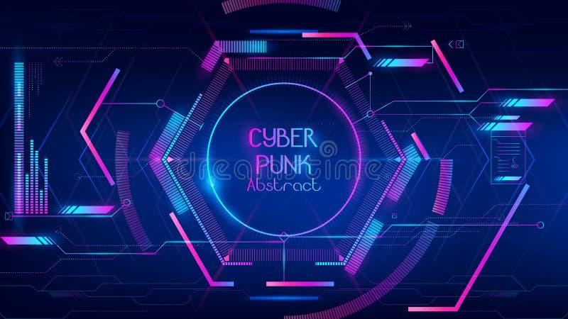 Samenvatting van hi-tech hub in cyber punkconceptie royalty-vrije illustratie