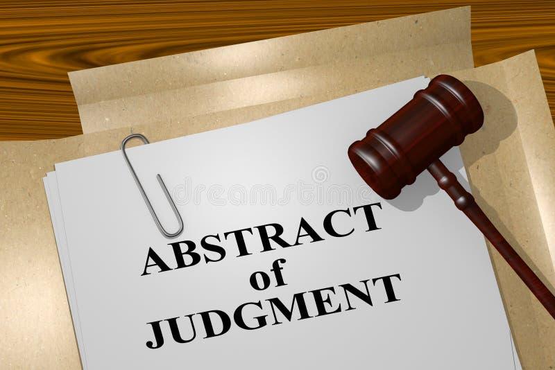 Samenvatting van Oordeel - juridisch begrip vector illustratie