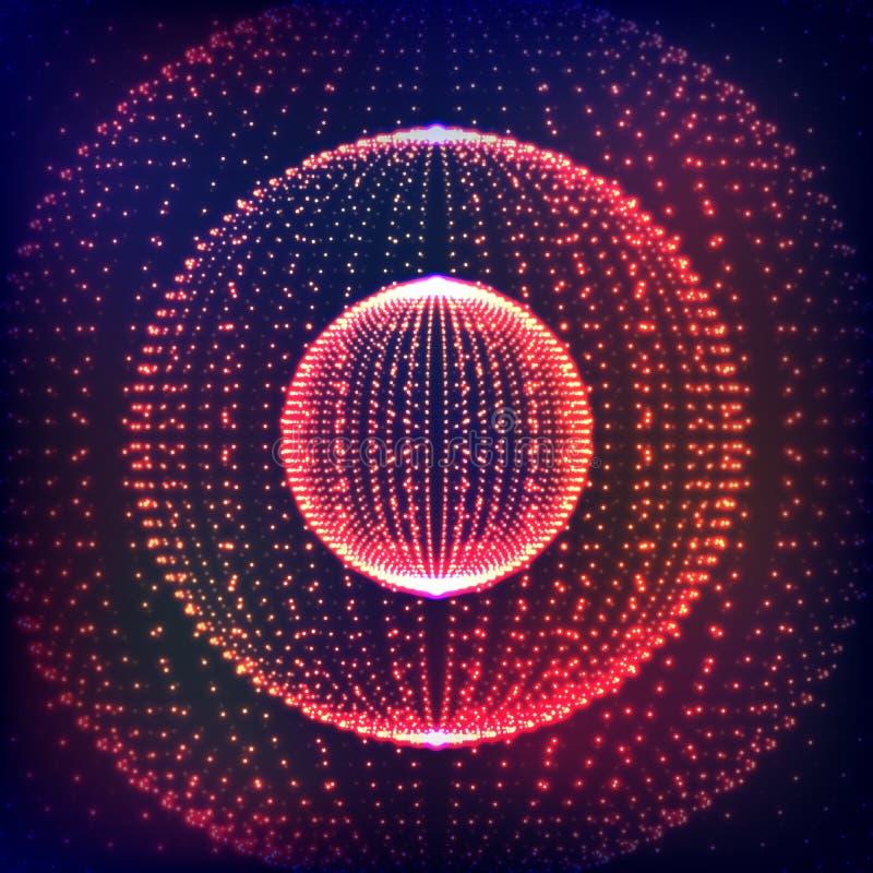 Samenvatting vervormd gebied Explosie van gebied met gloeiende deeltjes Abstract Bolnet Gebiedillustratie 3D Net DE royalty-vrije illustratie