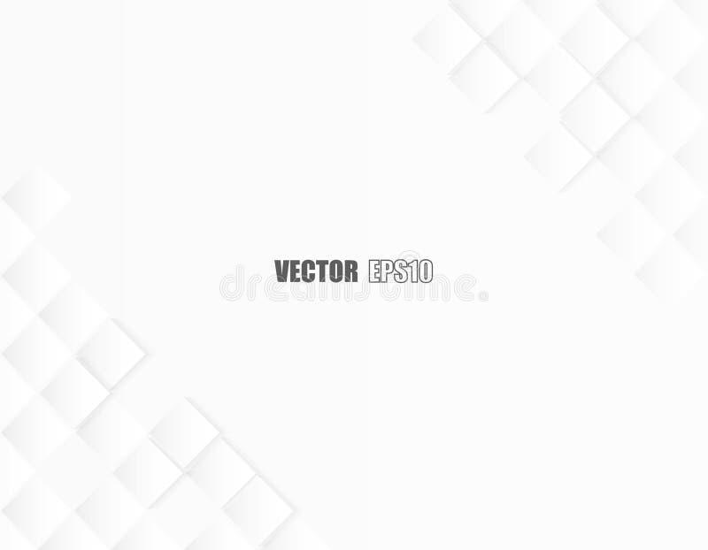 Samenvatting vierkant geometrisch document witte Achtergrond, licht en schaduw Vector stock foto's