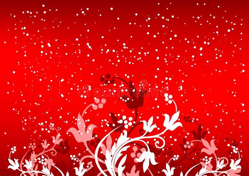 Samenvatting winterbackground met vlokken en bloemen in rode kleur vector illustratie