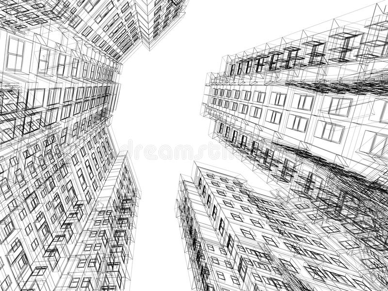 Samenvatting wireframe van 3D architectuur royalty-vrije illustratie