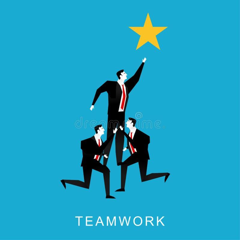 Samenwerking of de illustratie van het groepswerkconcept De piramide van groepswerkzakenlieden om ster te bereiken stock illustratie