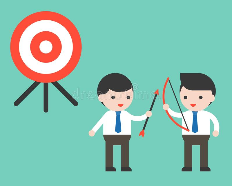 Samenwerking van de twee de mede arbeiderszakenman om doel, partnershi te bereiken vector illustratie