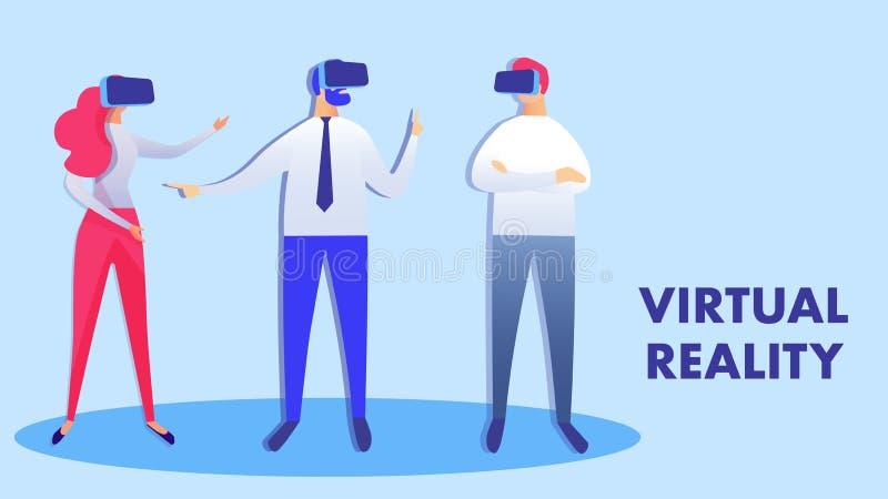 Samenwerkings Virtuele Werkelijkheids Vectorillustratie royalty-vrije illustratie