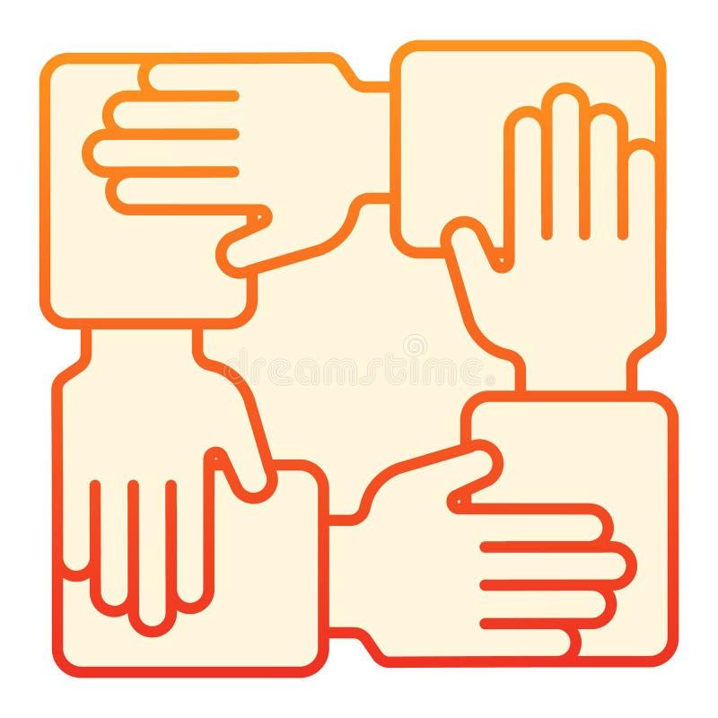 Samenwerkings vlak pictogram Handen communautaire oranje pictogrammen in in vlakke stijl De stijlontwerp van de groepswerkgradi?n stock illustratie