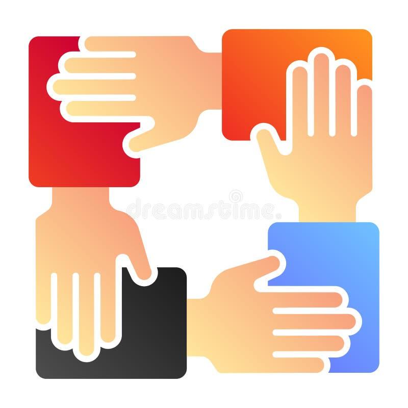 Samenwerkings vlak pictogram Pictogrammen van de handen de communautaire kleur in in vlakke stijl De stijlontwerp van de groepswe royalty-vrije illustratie