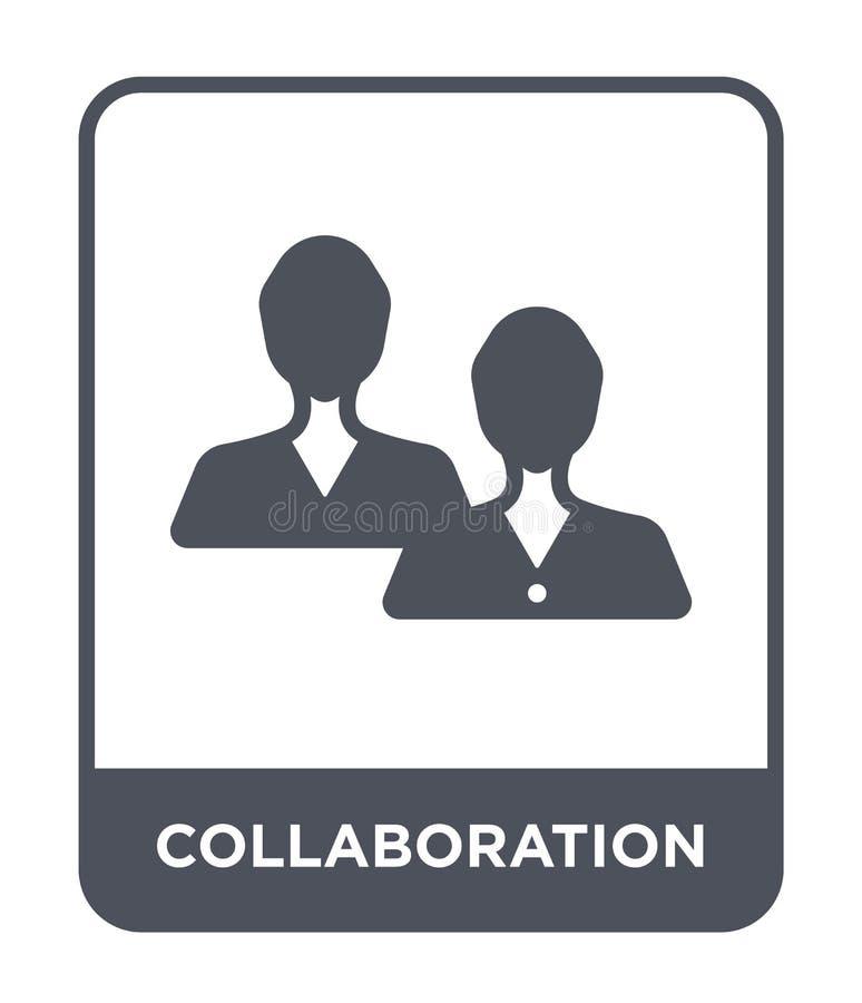 samenwerkingspictogram in in ontwerpstijl Samenwerkingspictogram op witte achtergrond wordt geïsoleerd die eenvoudig samenwerking stock illustratie