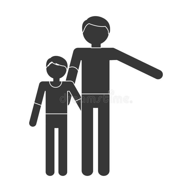 samhörighetskänsla för son för barn för konturfamiljfader stock illustrationer