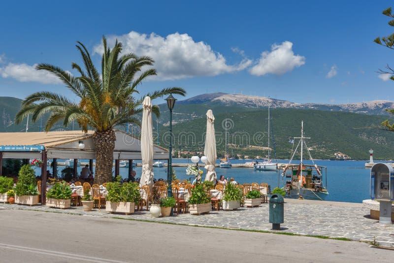 SAMI, KEFALONIA, GREECE - MAY 26 2015: Panorama of Port of town of Sami, Kefalonia, Greece stock photography