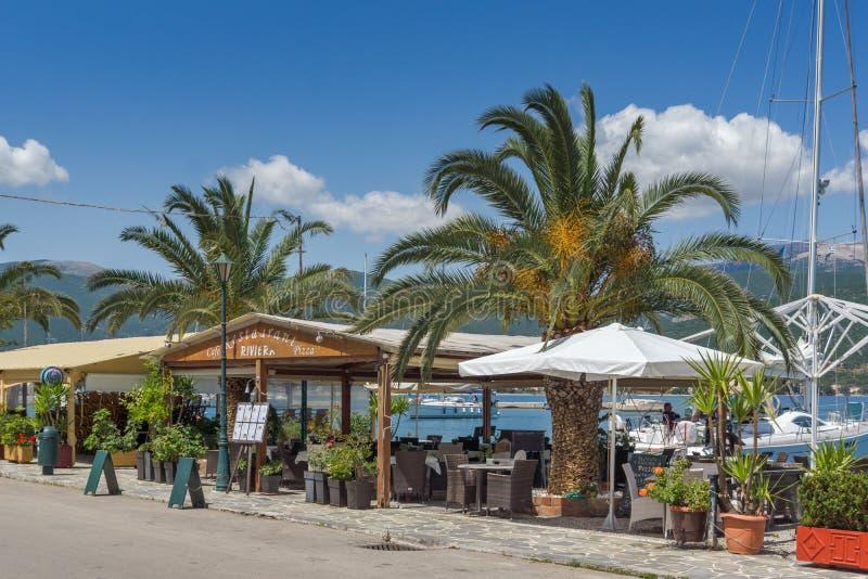 SAMI, KEFALONIA, GREECE - MAY 26 2015: Panorama of Port of town of Sami, Kefalonia, Greece stock image
