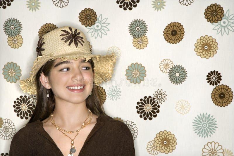 samica dziecinne portret nosić kapelusz obrazy royalty free