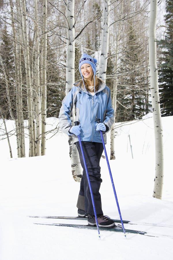 samica narciarka nachylenie obraz royalty free