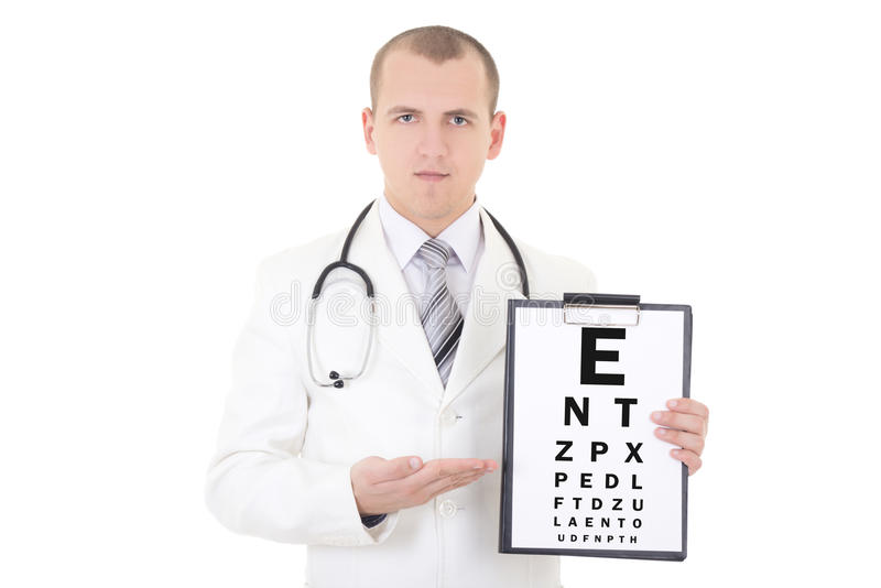 Samiec doktorski oftalmolog i oko próbna mapa odizolowywająca na bielu obraz stock