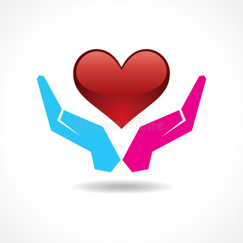 Samiec i żeńska ręka wpólnie ochraniamy serce ilustracji