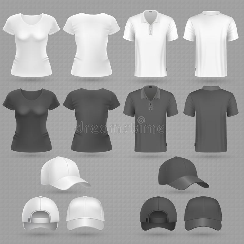Samiec i żeński czarny biały wektorowy 3d mockup odizolowywający koszulki i baseball nakrętki ilustracja wektor