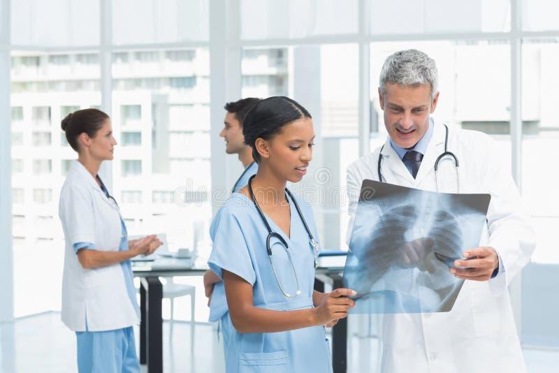 Samiec i kobiety lekarki egzamininuje promieniowanie rentgenowskie zdjęcia royalty free