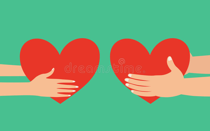 Samiec i kobiety ręki daje sercu royalty ilustracja