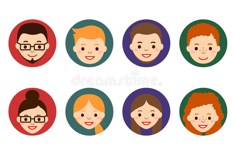 Samiec i kobiety twarzy avatars podaniowi ikon internetów ludzie prezentaci projekta sieci strony internetowej twój Ludzie Płaski royalty ilustracja