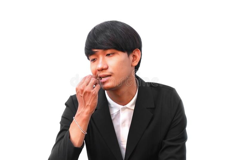 Samiec jego czyści zęby z wykałaczką na białym tle zdjęcia royalty free