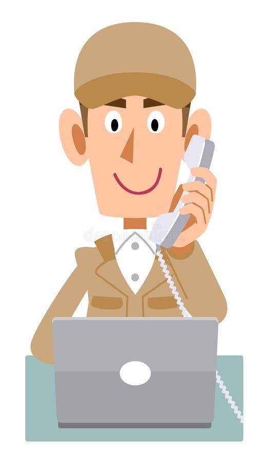 Samiec jest ubranym beżowych pracujących ubrania działać komputer podczas gdy dzwoniący royalty ilustracja