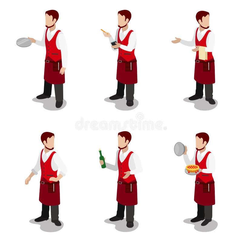 Samiec kelnera kucbarskiego sommelier mieszkania 3d restauracyjny isometric wektor ilustracji