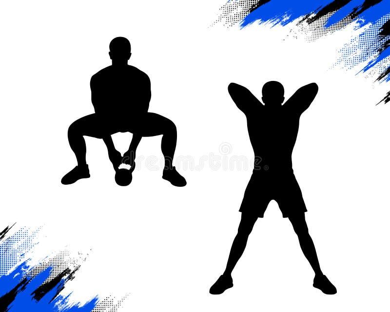 Samiec która robi kettlebell sumo deadlift crossfit ćwiczeniu, ilustracji