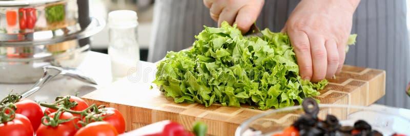 Samiec kucharz w fartuch zielonej sa?atki r?ni?tym zbli?eniu obraz royalty free