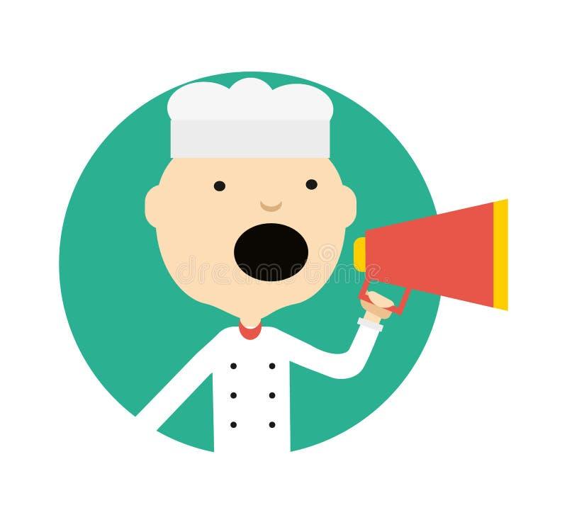 Samiec kucharz w mundurze z megafon ikoną ilustracja wektor