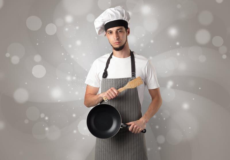 Samiec kucharz z błyszczącą popielatą tapetą ilustracja wektor