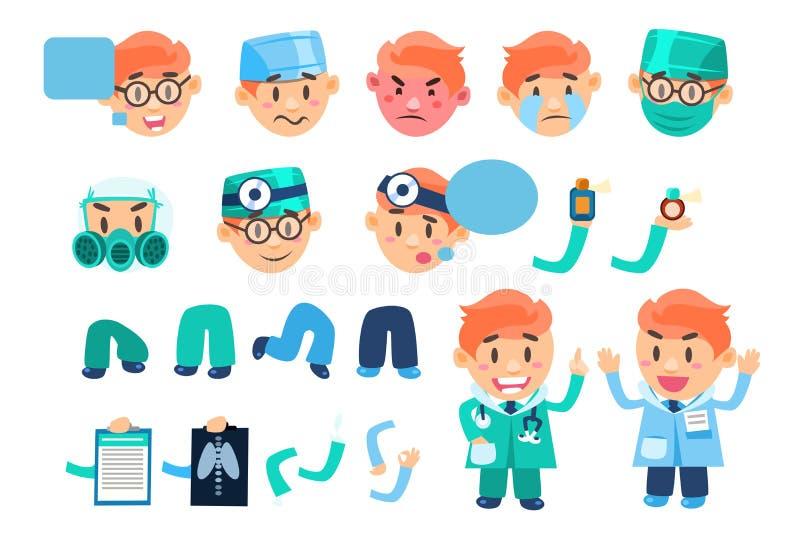 Samiec lekarka animujący charakter set, różnorodne twarzy emocje, pozy, gesty, części ciało i sprzęt medyczny -, royalty ilustracja
