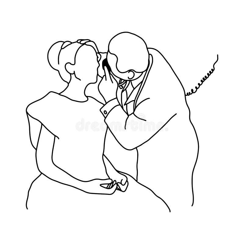 Samiec lekarki czeka up oko żeński pacjent z wyposażeniem ilustracja wektor