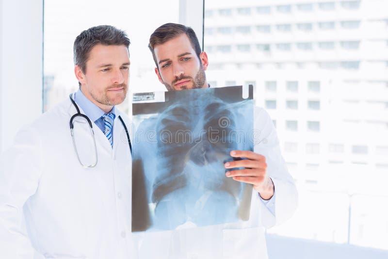 Samiec lekarki egzamininuje xray w medycznym biurze zdjęcie royalty free