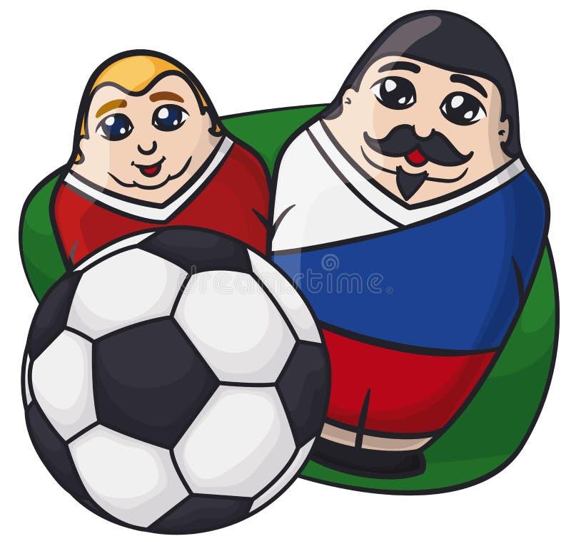 Samiec Matryoshka lale z rosjanów kolorami za piłki nożnej piłką, Wektorowa ilustracja ilustracja wektor