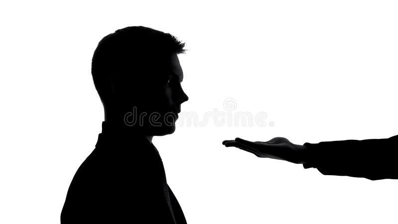 Samiec pusta ręka w frontowej biznesmen twarzy, pyta pieniądze, łapówki wydarcie, kredyt obraz stock
