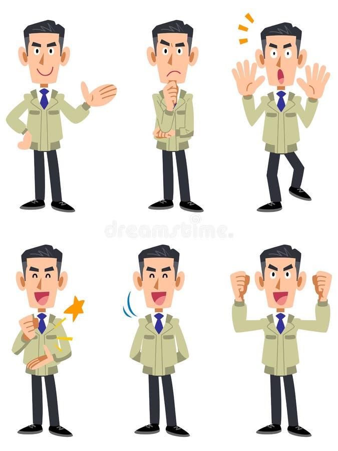 Samiec 6 typy wyrazu twarzy i gesta set ilustracji